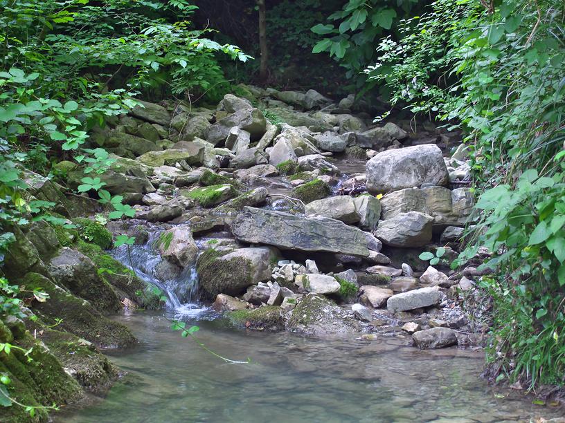 Ручей и камни в Крабовом ущелье