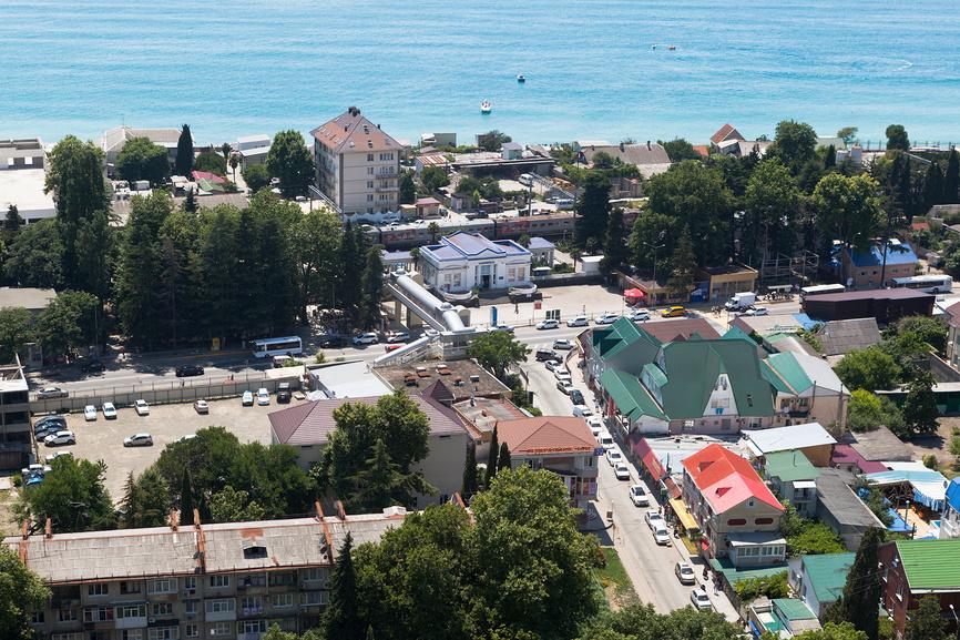 Пейзаж сверху Лазаревское
