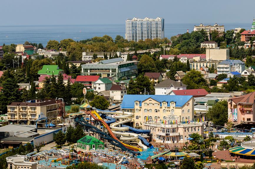 """Вид на Лазаревское и аквапарк """"Наутилус"""" с высоты"""